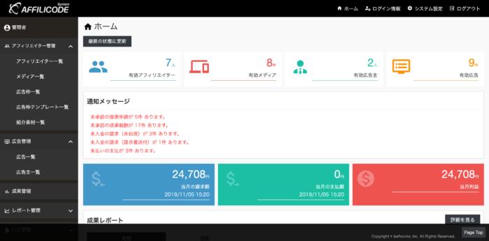 アフィリコード・システムのホーム画面